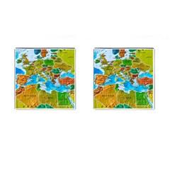 World Map Cufflinks (square)