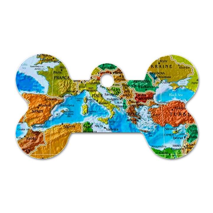 World Map Dog Tag Bone (Two Sides)