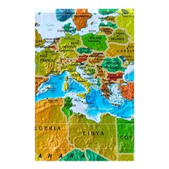 World Map Shower Curtain 48  X 72  (small)