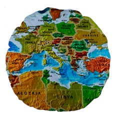 World Map Large 18  Premium Round Cushions by BangZart