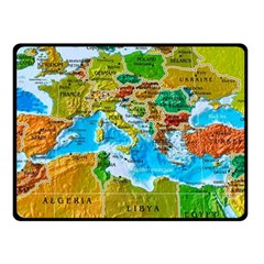 World Map Double Sided Fleece Blanket (small)  by BangZart
