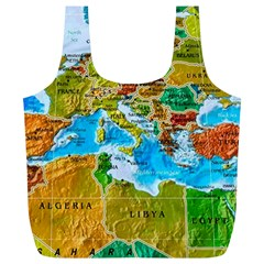 World Map Full Print Recycle Bags (l)