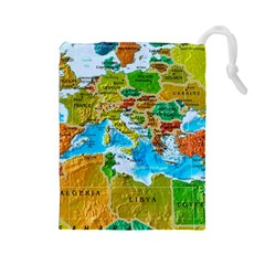 World Map Drawstring Pouches (large)  by BangZart