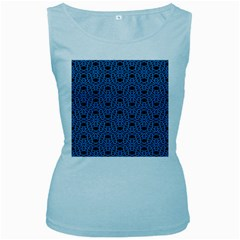 Triangle Knot Blue And Black Fabric Women s Baby Blue Tank Top