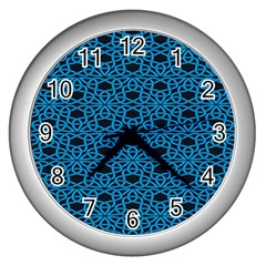 Triangle Knot Blue And Black Fabric Wall Clocks (silver)  by BangZart
