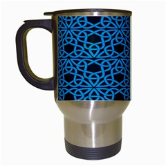 Triangle Knot Blue And Black Fabric Travel Mugs (white) by BangZart
