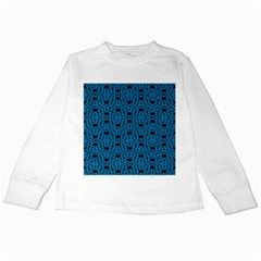 Triangle Knot Blue And Black Fabric Kids Long Sleeve T Shirts