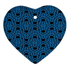 Triangle Knot Blue And Black Fabric Heart Ornament (two Sides)