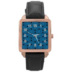 Triangle Knot Blue And Black Fabric Rose Gold Leather Watch
