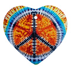 Tie Dye Peace Sign Ornament (heart)