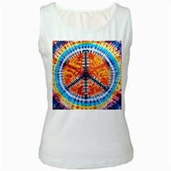 Tie Dye Peace Sign Women s White Tank Top