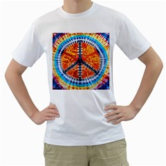 Tie Dye Peace Sign Men s T Shirt (white) (two Sided)