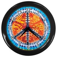 Tie Dye Peace Sign Wall Clocks (black)