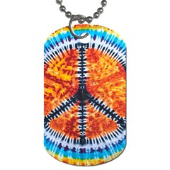 Tie Dye Peace Sign Dog Tag (one Side)
