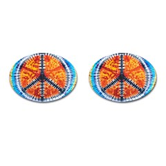Tie Dye Peace Sign Cufflinks (oval) by BangZart