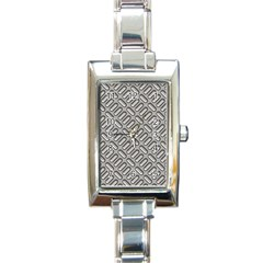 Grey Diamond Metal Texture Rectangle Italian Charm Watch