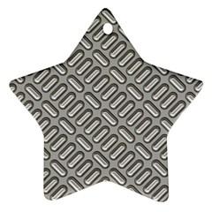 Grey Diamond Metal Texture Star Ornament (two Sides)