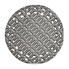 Grey Diamond Metal Texture Round Filigree Ornament (two Sides)