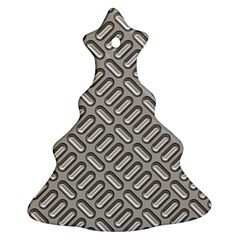 Grey Diamond Metal Texture Christmas Tree Ornament (two Sides)