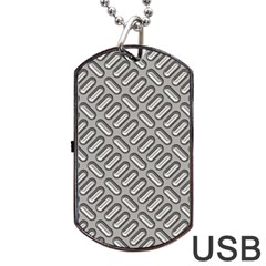 Grey Diamond Metal Texture Dog Tag Usb Flash (one Side)