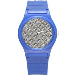 Grey Diamond Metal Texture Round Plastic Sport Watch (s)