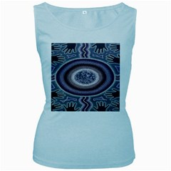 Spirit Of The Child Australian Aboriginal Art Women s Baby Blue Tank Top by BangZart