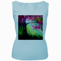 Forests Stunning Glimmer Paintings Sunlight Blooms Plants Love Seasons Traditional Art Flowers Sunsh Women s Baby Blue Tank Top