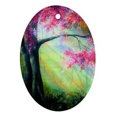 Forests Stunning Glimmer Paintings Sunlight Blooms Plants Love Seasons Traditional Art Flowers Sunsh Oval Ornament (two Sides) by BangZart
