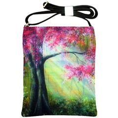 Forests Stunning Glimmer Paintings Sunlight Blooms Plants Love Seasons Traditional Art Flowers Sunsh Shoulder Sling Bags by BangZart