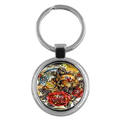 Flower Art Traditional Key Chains (round)  by BangZart