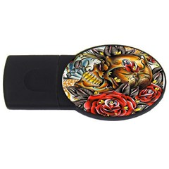 Flower Art Traditional Usb Flash Drive Oval (4 Gb)