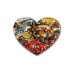 Flower Art Traditional Rubber Coaster (heart)