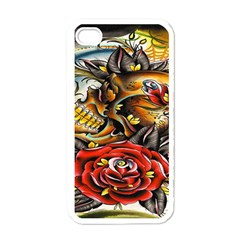 Flower Art Traditional Apple Iphone 4 Case (white)