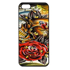 Flower Art Traditional Apple Iphone 5 Seamless Case (black)