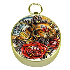 Flower Art Traditional Gold Compasses