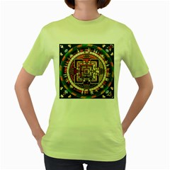 Colorful Mandala Women s Green T Shirt