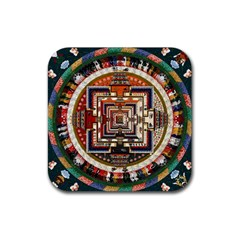 Colorful Mandala Rubber Coaster (square)