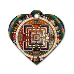 Colorful Mandala Dog Tag Heart (two Sides)