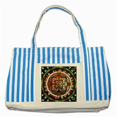 Colorful Mandala Striped Blue Tote Bag