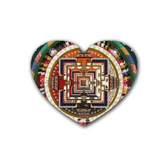 Colorful Mandala Rubber Coaster (heart)