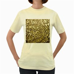 Golden European Pattern Women s Yellow T Shirt