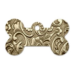 Golden European Pattern Dog Tag Bone (one Side)