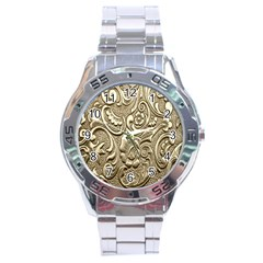 Golden European Pattern Stainless Steel Analogue Watch by BangZart