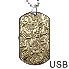 Golden European Pattern Dog Tag Usb Flash (one Side)