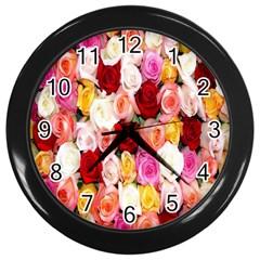 Rose Color Beautiful Flowers Wall Clocks (black) by BangZart