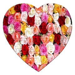 Rose Color Beautiful Flowers Jigsaw Puzzle (heart) by BangZart