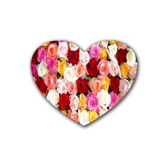 Rose Color Beautiful Flowers Rubber Coaster (heart)