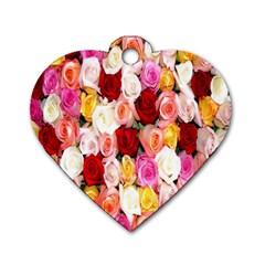 Rose Color Beautiful Flowers Dog Tag Heart (one Side)