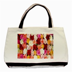 Rose Color Beautiful Flowers Basic Tote Bag (two Sides)