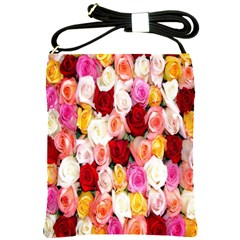 Rose Color Beautiful Flowers Shoulder Sling Bags by BangZart